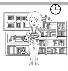 Girl cartoon school design vector