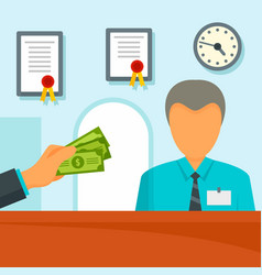 Give money bank manager concept background flat vector
