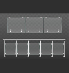 Glass balustrade with metal handrails set isolated vector