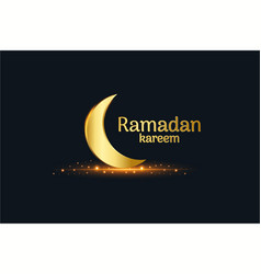 Golden islamic moon and ramadan kareem written vector