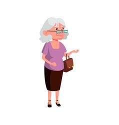 Grumbling old woman in butcher store cartoon vector
