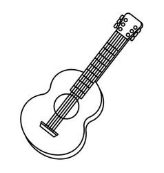 Guitar tilted music instrument cartoon in black vector