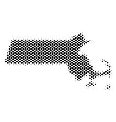 Halftone dot massachusetts state map vector