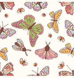 hand drawn butterfly cute cartoon insect il vector image