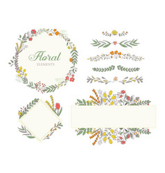 hand drawn floral decoration elements frame vector image