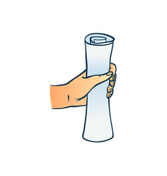 Hand holding scroll sheet of paper in sketch style vector