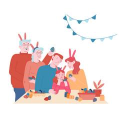 Happy family prepare for easter celebration vector
