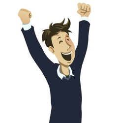 happy guy cheering vector image