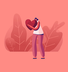 Happy woman embrace huge red heart with smiling vector