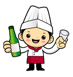 head chef character holding a distilled spirits vector image