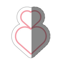 Hearts love decoration shadow vector