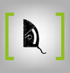Iron sign black scribble icon in citron vector
