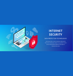 isometric data security banner horizontal narrow vector image