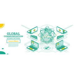 isometric global communication network vector image
