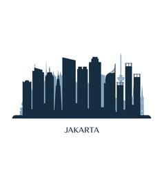 jakarta skyline monochrome silhouette vector image