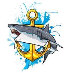 Jumping shark with anchor art vector