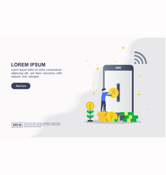 landing page template online banking modern vector image