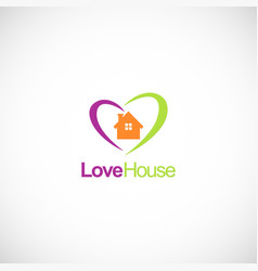 love house colored business logo vector image