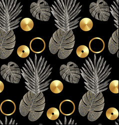 luxury gold and black tropical plant seamless vector image