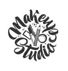 makeup studio logo hand drawn vector image