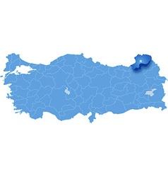 Map of Turkey Artvin vector