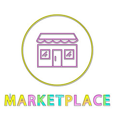 marketplace color minimalist thin line design icon vector image