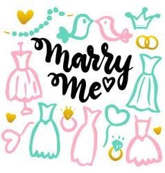 marry me handwritten postcard vector image