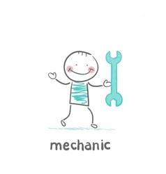 mechanic holding a green key vector image