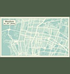 Mendoza argentina city map in retro style outline vector