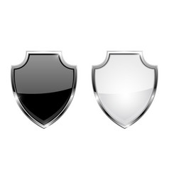 Metal 3d shields black and white glass icons vector