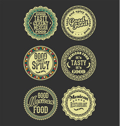 Mexican design retro vintage labels black and vector