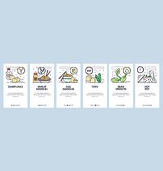 mobile app onboarding screens asian noodle meals vector image