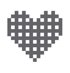 Monochrome pixels forming grilled heart vector