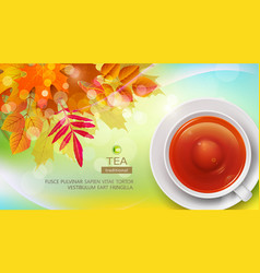 mug of black tea against the background of autumn vector image