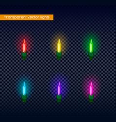 Multicolor trasnparent christmas light bulb set vector