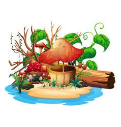 Mushroom well on island vector