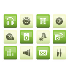 music and sound icons over green background vector image