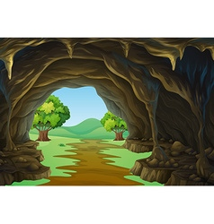 Nature scene of cave and trail vector