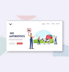 No antibiotics landing page template eco farming vector