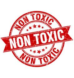 Non toxic round grunge ribbon stamp vector