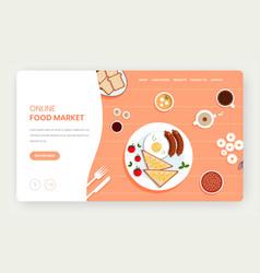 online food market website landing page vector image