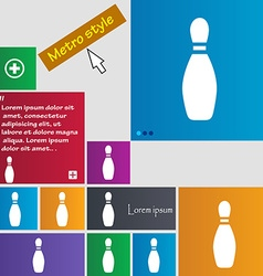 Pin bowling icon sign buttons Modern interface vector