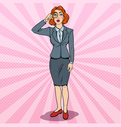 Pop art amazed business woman with magnifier vector