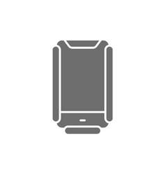 Protective anti crash smartphone case grey icon vector