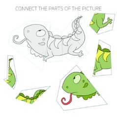 Puzzle game for children iguana vector image