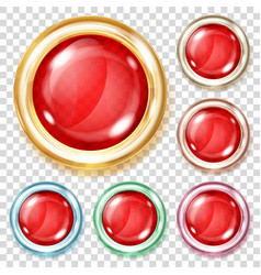 red transparent glass buttons vector image