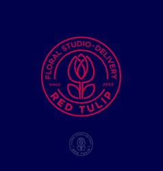 Red tulip logo flower studio emblem vector