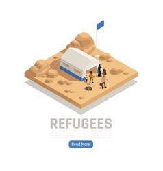 Refugees asylum isometric poster vector