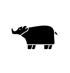 Rhinoceros black icon sign on isolated vector