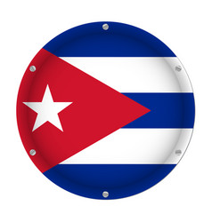 Round metallic flag of cuba with screws vector
